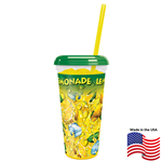 32 oz Clear Lemon-Ice Sleek Cup w/lid & straw