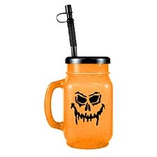 28oz Orange Sparkle Halloween Mason Jar with Lid and Straw - 72 per case