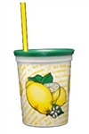 16 oz Plastic Tri-Pack Lemonade Cup w/Lid & Straw